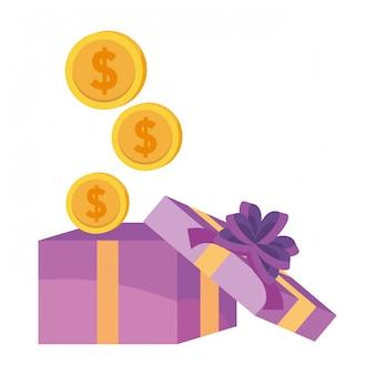 Geschenk- und münzenikonenillustration