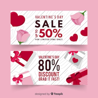 Geschenk und rosafarbener valentinsgrußverkauf banne