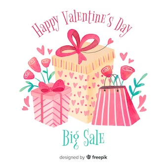 Geschenk und taschen-valentinsgrußverkaufshintergrund