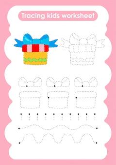 Geschenk - verfolgen sie das arbeitsblatt zum schreiben und zeichnen von linien für kinder
