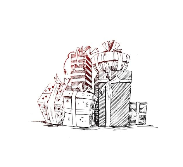 Geschenk verpackt mit satinband handgezeichnete skizze vektor-illustration
