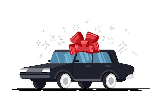 Geschenkauto mit roter schleife, illustration