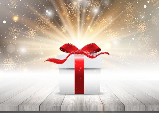 Geschenkbox auf einem holztisch gegen einen weihnachtsschneeflockehintergrund
