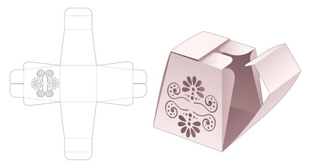 Geschenkbox aus karton mit mittlerer öffnung und schablone mit mandala-stanzung