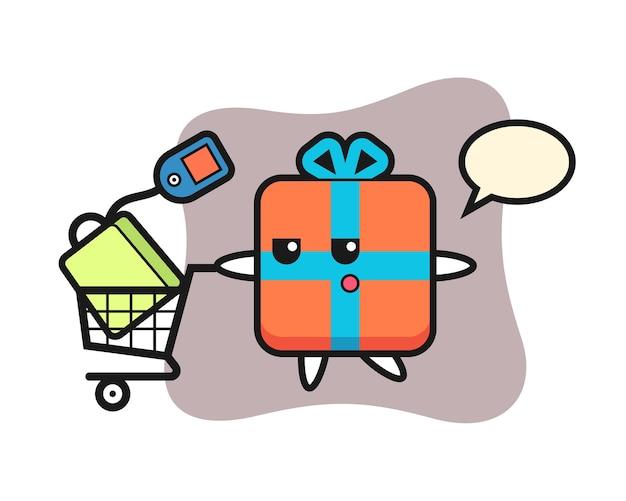 Geschenkbox-cartoon mit einem einkaufswagen