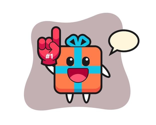 Geschenkbox cartoon mit nummer fans handschuh