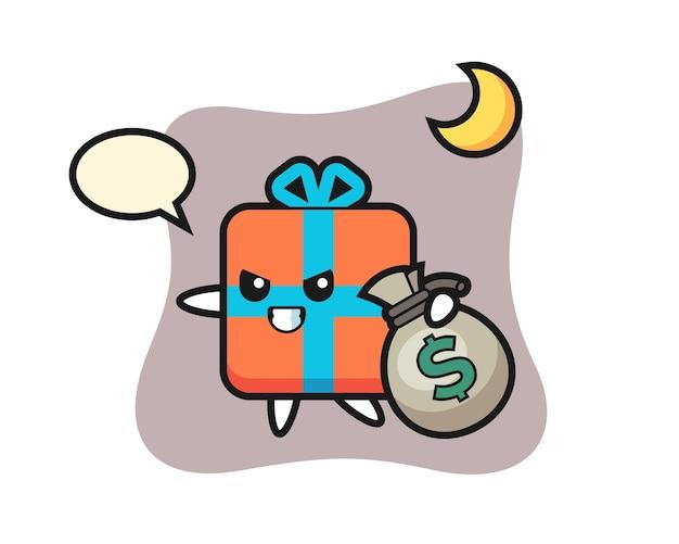 Geschenkbox cartoon wird das geld gestohlen
