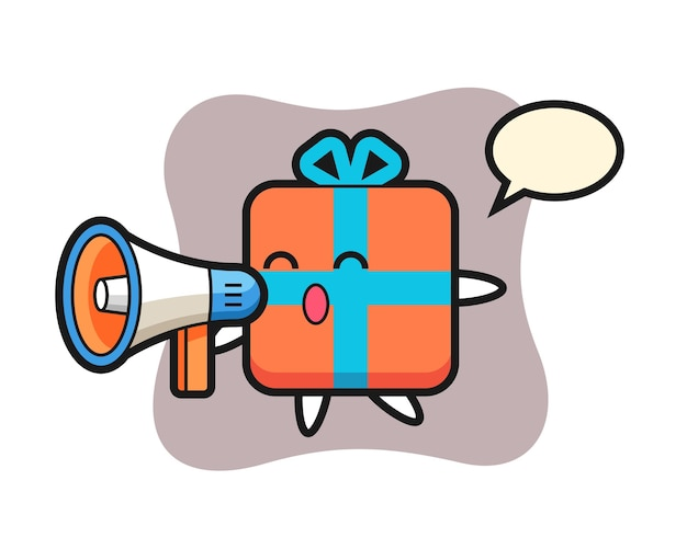 Geschenkbox-charakter, der ein megaphon hält