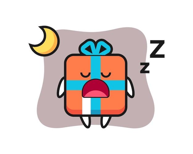 Geschenkbox-charakter, der nachts schläft