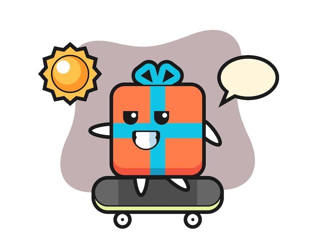 Geschenkbox charakter fahren ein skateboard