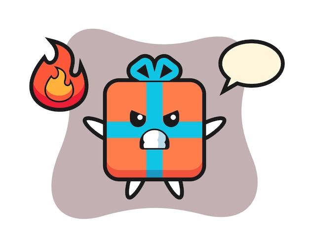 Geschenkbox-charakterkarikatur mit verärgerter geste
