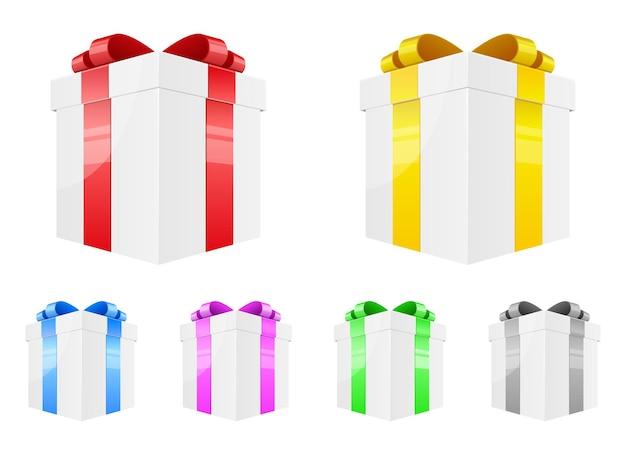 Geschenkbox-design-illustration isoliert auf weißem hintergrund