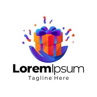 Geschenkbox farbverlauf logo