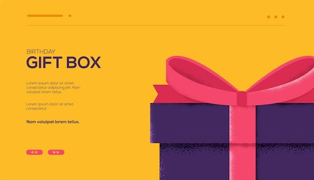 Geschenkbox flyer, zeitschriften, poster, buchcover, banner. kornstruktur und geräuscheffekt.