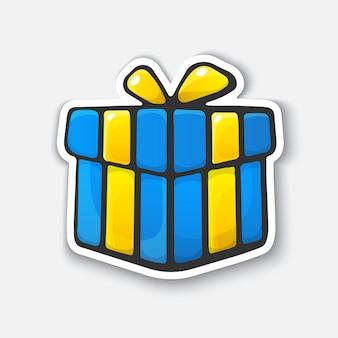 Geschenkbox gebundenes band cartoon lustiger aufkleber im comic-stil mit kontur vektor-illustration-symbol