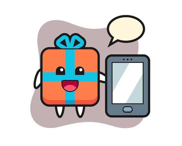 Geschenkbox-karikatur, die ein smartphone hält