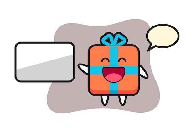 Geschenkbox-karikatur, die eine präsentation tut