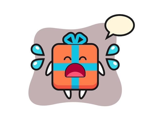 Geschenkbox-karikatur mit weinender geste