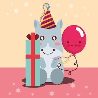 Geschenkbox kawaii ballon niedliche flusspferd und partyhut