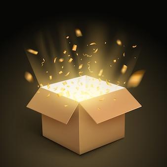Geschenkbox konfetti explosion. magic open überraschung geschenkbox paket dekoration
