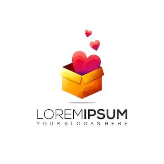 Geschenkbox liebe logo-design-vorlage