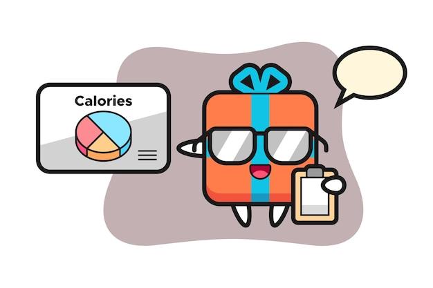 Geschenkbox maskottchen als ernährungsberater
