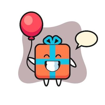 Geschenkbox maskottchen spielt ballon