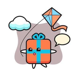 Geschenkbox maskottchen spielt drachen