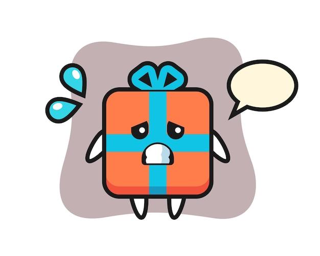 Geschenkbox-maskottchencharakter mit ängstlicher geste