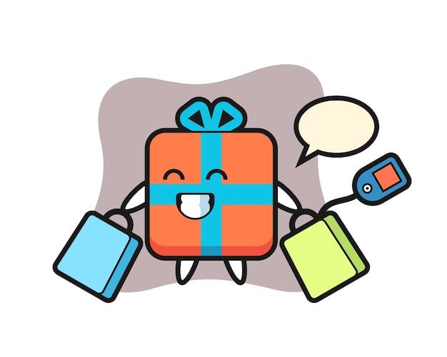 Geschenkbox-maskottchenkarikatur, die eine einkaufstasche hält