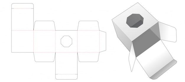 Geschenkbox mit achteckig geformtem fenster gestanzte schablonendesign