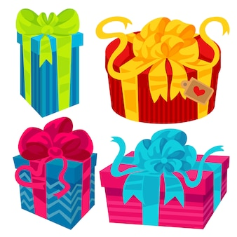 Geschenkbox mit bändern und schleifen, eine schöne geschenkverpackung.