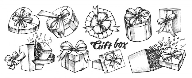 Geschenkbox mit band sammlung vintage set