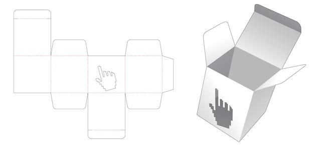 Geschenkbox mit cursor-förmigem fenster in gestanzter vorlage im pixel-art-stil