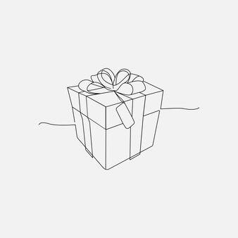 Geschenkbox mit durchgehender strichzeichnung mit band
