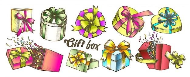 Geschenkbox mit farbbandsammlungssatz
