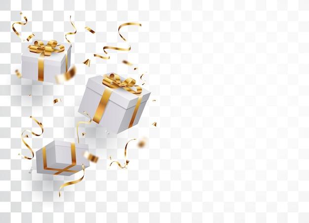Geschenkbox mit gold und rotem konfetti isoliert