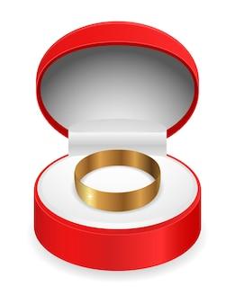 Geschenkbox mit goldenem ringsymbol