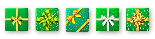 Geschenkbox mit grün-weiß-goldenem band und bogen-draufsicht weihnachten