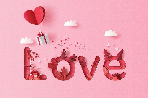 Geschenkbox mit herzballon, der im himmel schwimmt, liebestext mit bäumen und blumen in papierillustration.