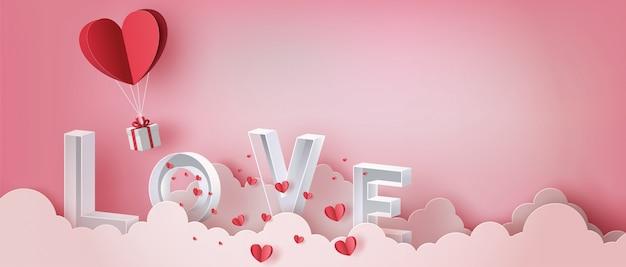 Geschenkbox mit herzballon und buchstabe liebe auf wolke, glücklicher valentinstag.