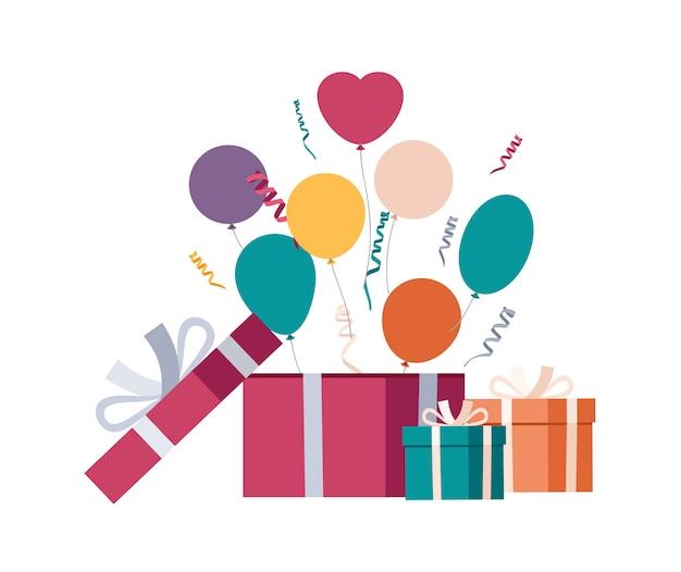 Geschenkbox mit luftballons