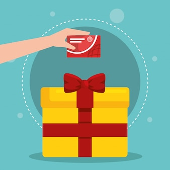 Geschenkbox mit marketing stellen icons