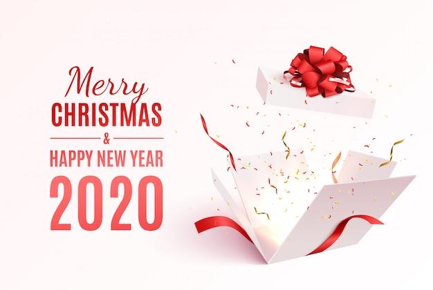 Geschenkbox mit rotem band und bogen. frohe weihnachten und happy new year banner.