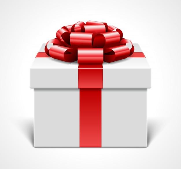 Geschenkbox mit rotem bogen und band lokalisiert auf weißer illustration