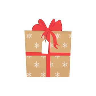 Geschenkbox mit roter schleife und weihnachtsverpackung, illustration lokalisiert auf weißem hintergrund