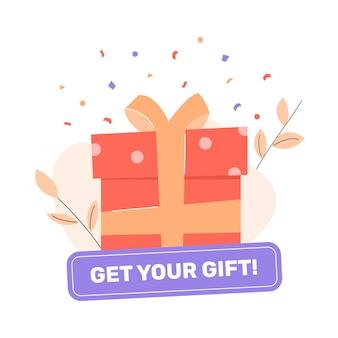 Geschenkbox mit schleife. knopf holen sie sich ihr geschenk. abzeichen für werbeaktionen und soziale netzwerke. boni, rabatte und belohnungen für kunden.