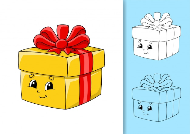 Geschenkbox mit schleife und bändern. satz von vektorabbildungen isoliert
