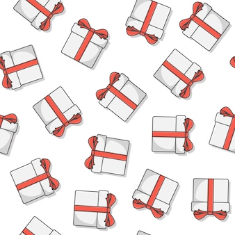 Geschenkbox nahtloses muster auf einem weißen hintergrund. geschenk präsentiert symbol vektor-illustration