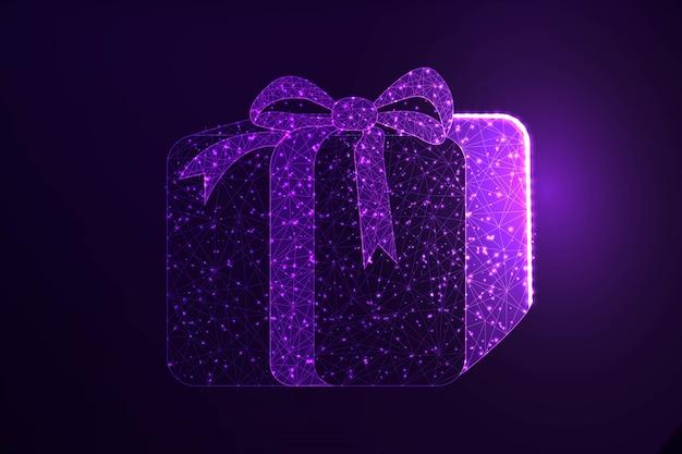 Geschenkbox niedrige polygonale illustration deign